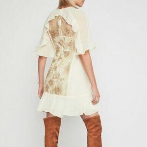 BCBG MaxAzria Metallic Ruffle Lace Dress - Size 4